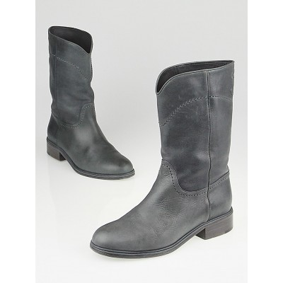Chanel Grey Leather CC Cowboy Boots Size 5.5/36