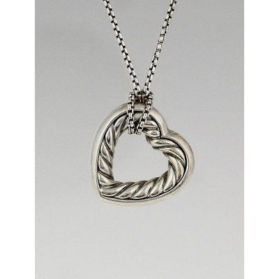 David Yurman Sterling Silver Large Heart Pendant Necklace