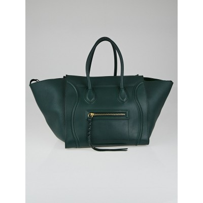 Celine Emerald Supple Calfskin Leather Small Phantom Luggage Tote Bag