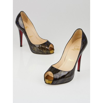 Christian Louboutin Bronze/Blue Patent Leather Very Prive 120 Peep Toe Heels Size 5.5/36
