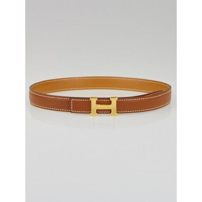 Hermes 18mm Gold Courchevel/Chamonix Leather Gold Plated Constance H Belt Size 60