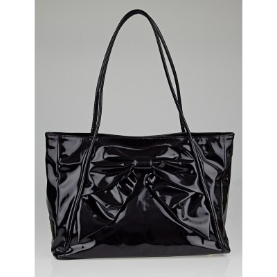 Valentino Black Patent Coated Canvas Vinyl Bow Tote Bag