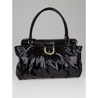 Gucci Black Patent Leather D Ring Tote Bag