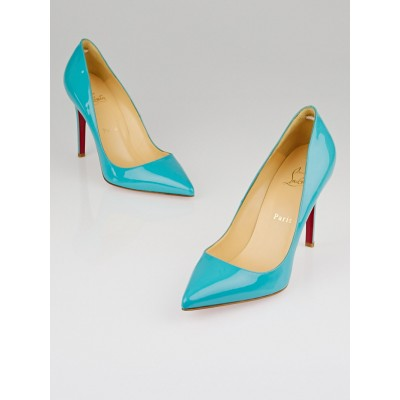 Christian Louboutin Turquoise Patent Leather Pigalle 100 Pumps Size 8.5/39