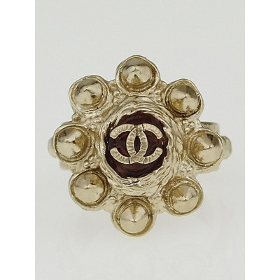 Chanel Goldtone Metal Studded CC Ring Size 5.5