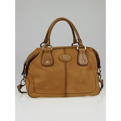 Tod's Light Brown Nubuck Leather New Restyling D-Bag Bauletto Bag