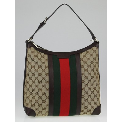 Gucci Beige/Ebony GG Canvas Vintage Web Medium Hobo Bag