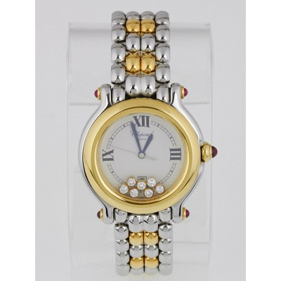 Chopard 18k Yellow Gold Stainless Steel Happy Sport 7 Floating Diamonds Ladies Watch