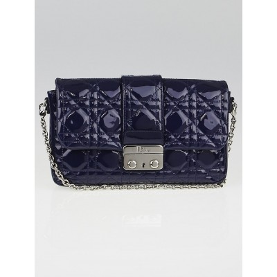 Christian Dior Navy Blue Cannage Quilted Patent Leather New Lock Pouch Clutch Bag