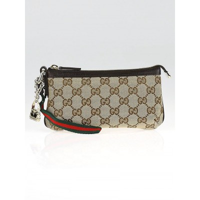 Gucci Beige/Ebony GG Canvas Wristlet Pochette Bag