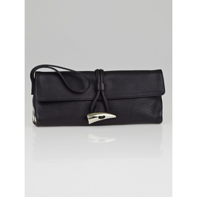 Burberry Black Leather Horn Toggle Wristlet Clutch Bag