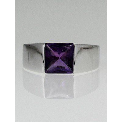 Cartier 18k White Gold and Amethyst Tank Solitaire Ring Size 54/6.75