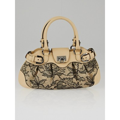 Salvatore Ferragamo Limited Edition Beige Leather and Lace Small Marisa Satchel Bag