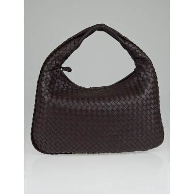 Bottega Veneta Ebano Intrecciato Woven Nappa Leather Medium Veneta Hobo Bag
