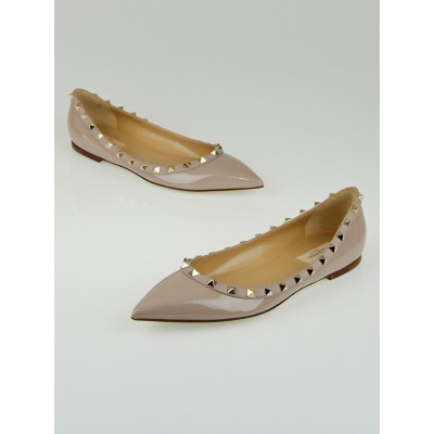 Valentino Nude Patent Leather Rockstud Ballet Flats Size 9.5/40