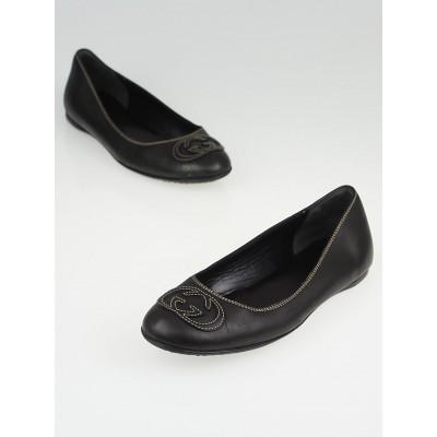 Gucci Black Leather Interlocking G Ballet Flats Size 7.5/38
