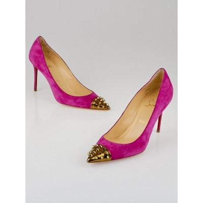 Christian Louboutin Pink Suede Studded Cap Toe Geo Pump 100 Size 8.5/39