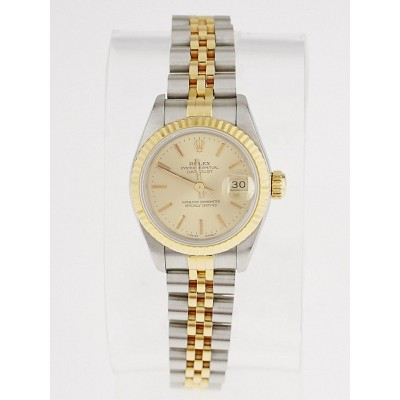 Rolex Stainless Steel and 18k Gold Ladies 26mm Datejust 69173 Watch