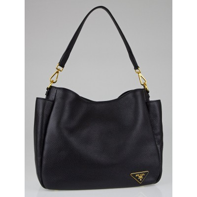 Prada Black Vitello Daino Leather Double-Pocket Hobo Bag B4863M