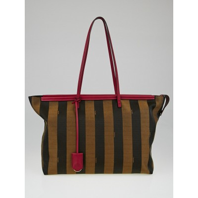 Fendi Tobacco Pequin Strip Canvas and Leather Roll Tote Bag