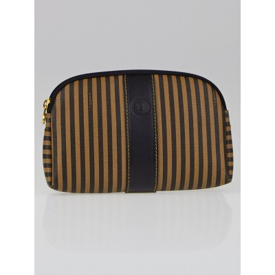 Fendi Brown/Black Striped Coated Canvas Cosmetic Pouch