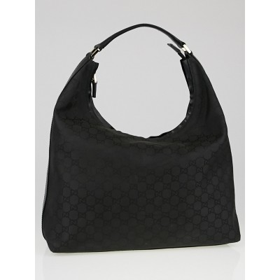 Gucci Black GG Canvas Large Hobo Bag