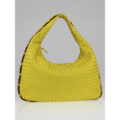 Bottega Veneta Limone/Noce Intrecciato Woven Nappa Leather Medium Veneta Hobo Bag