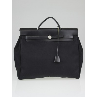 Hermes 35cm Black Canvas and Leather Herbag 2-in-1 Bag