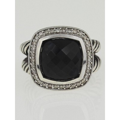 David Yurman 11mm Black Onyx and Diamonds Albion Ring Size 6