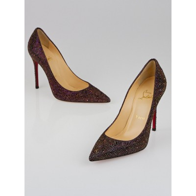 Christian Louboutin Plum Strass Decollete 554 100 Pumps Size 7/37.5