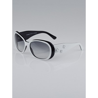 Chanel Black/White Frame Camellia Flower Sunglasses-5113