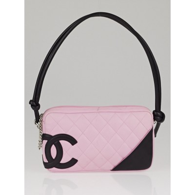 Chanel Pink/Black Cambon Ligne Quilted Pochette Bag