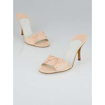 Chanel Pink Leather Open Toe Slide Sandals Size 7.5/38