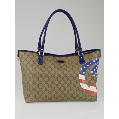 Gucci Beige/Blue GG Coated Canvas American Flag UNICEF Joy Tote Bag