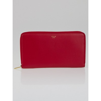 Celine Red Lambskin Leather Large Zipped Multifunction Wallet