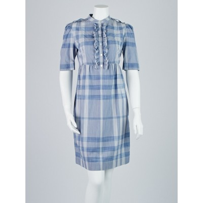 Burberry Brit Blue Plaid Cotton Ruffle Shirt Dress Size 6