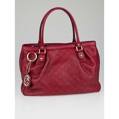 Gucci Red Guccissima Leather Sukey Tote Bag