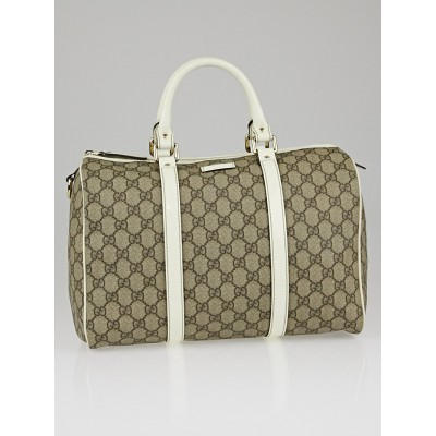 Gucci Beige/White GG Coated Canvas Medium Joy Boston Bag