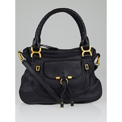 Chloe Black Leather Medium Marcie Front Pocket Satchel Bag