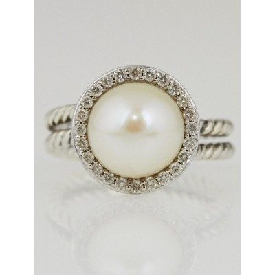 David Yurman White Pearl and Diamonds Cable Ring Size 6.5
