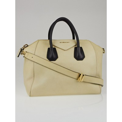 Givenchy Cream/Black Bi-Color Matte Calfskin Leather Medium Antigona Satchel Bag