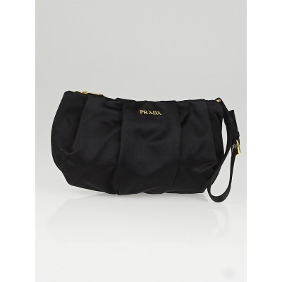Prada Black Satin Wristlet Clutch Bag 1N1407