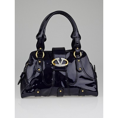Valentino Garavani Dark Blue Patent Leather Catch Satchel Bag