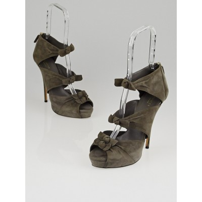 Gucci Grey Suede Bows Open-Toe Heels Size 9/39.5