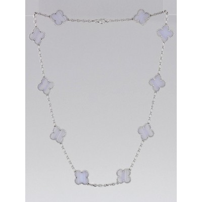 Van Cleef & Arpels 18k White Gold and Chalcedony Vintage Alhambra 10 Motif Necklace
