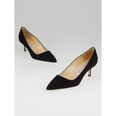 Manolo Blahnik Black Suede BB 50 Pointed Toe Pumps Size 5.5/36