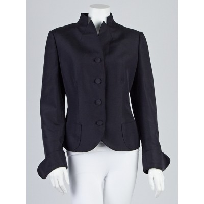 Salvatore Ferragamo Navy Blue Collarless Blazer Jacket Size 12/46