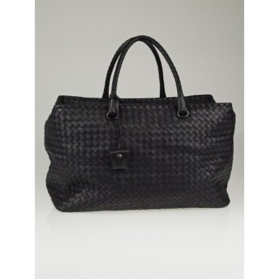 Bottega Veneta Black Intrecciato Woven Nappa Leather Brick Bag