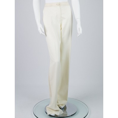 Yves Saint Laurent White Wool Tuxedo Trouser Pants Size 12/44