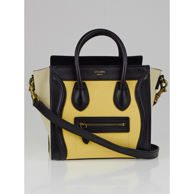 Celine Yellow Tricolor Leather Nano Luggage Bag